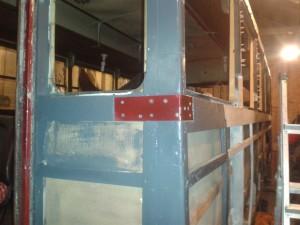 New steelwork on the waistrail/door pillar joint