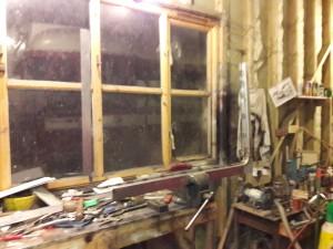 Window frame fabrication in progress